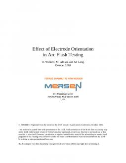 Cover of Effect of Electrode Orientation in Arc Flash Testing - White Paper